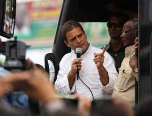 Lucknow: Congress vice president Rahul Gandhi addresses at Bhitauli Chauraha of Lucknow on Sept 25, 2016. (Photo: IANS)