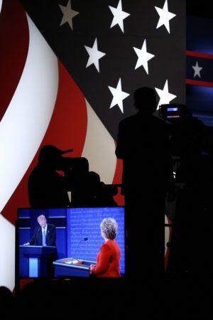 HEMPSTEAD, Sept. 27, 2016 (Xinhua) -- Democrat Hillary Clinton (R) and Republican Donald Trump attend their first presidential debate in Hempstead of New York, the United States, Sept. 26, 2016. Hillary Clinton and Donald Trump on Monday held their first presidential debate in Hempstead. (Xinhua/Qin Lang/IANS)